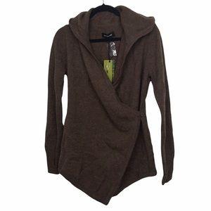 Betabrand Black Sheep Wool Alpaca Wrap Sweater in Brown Sm / Med